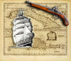 Old Caribbean Map with ship and gun